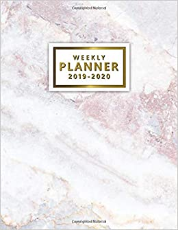 picture relating to Cute Weekly Planners referred to as 2019-2020 Weekly Planner: Fairly Crimson Gray Marble Everyday