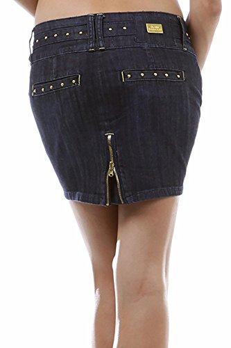 Dark Denim Mini Skirt (Small Medium Large Extra Large Juniors Teens Big Girls Micro Mini Denim Skirt Studded Short Tight Dark Blue Size)