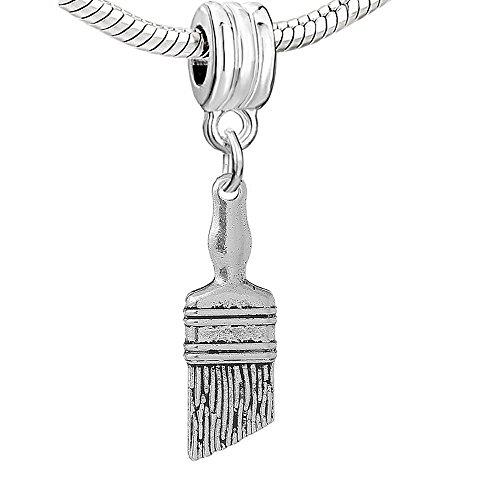 Shovel Bead - Work Tools Hammer, Screwdriver, Paint Brush and Shovel Bead for Snake Chain Charm Bracelet (Choose From Menu) (Paint Brush)