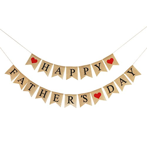 Decorations Day Fathers (Burlap Happy Fathers Day Banner | Rustic Fathers Day Party Decorations | Fathers Day Family Photo Prop Celebration Gift)
