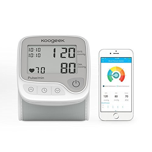 Koogeek Wrist Blood Pressure Monitor with Heart Rate Detection and Memory Function LCD Display Automatic Home Use for iPhone and Android