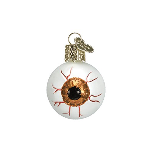 Old World Christmas Glass Blown Ornament with S-Hook and Gift Box, Halloween Collection (Evil Eye [Yellow])