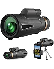 TMOM Monoculaire telescoop 12 x 50 HD monoculair met adapter voor mobiele telefoon en statief, waterdicht, monoculair voor vogelobservatie, jacht, camping, voetbal concerten