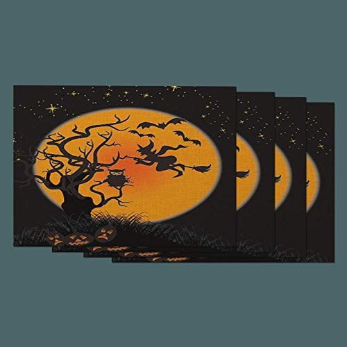 Moslion Halloween Place Mats Set of 4. Dark Witch with Broom Bats Fly to Moon Owl in Tree Pumpkin in Horror Night Cotton Linen Placemats 12x18 Inch for Dinner Kitchen Table Dining Room]()