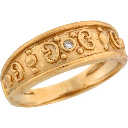 14k Yellow Gold Round Cut White Diamond Etruscan Style Design Ladies Ring
