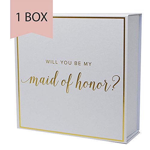 (Maid of Honor Proposal Box with Gold Foiled Text | Set of 1 Empty Box | Perfect for Will You Be My MOH Gift and Wedding Present)