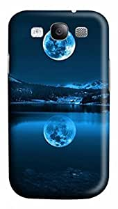 3D PC Case Cover for Samsung Galaxy S3 I9300 Custom Hard Shell Skin for Samsung Galaxy S3 I9300 With Nature Image- Moon ands reflection