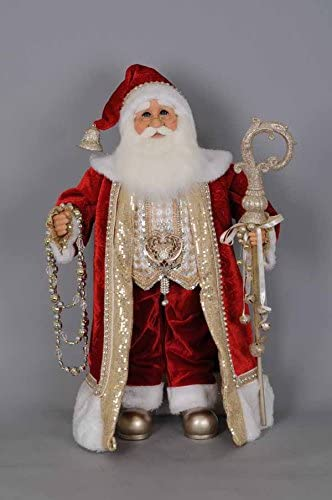 Karen Didion Originals Red Gold Santa Figurine, 28 Inches – Handmade Christmas Holiday Home Decorations and Collectibles