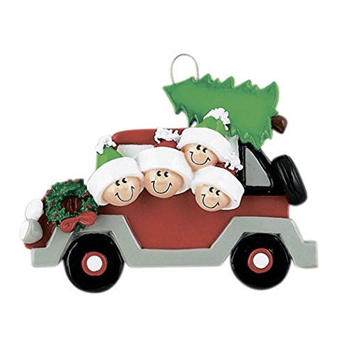 Personalized Christmas Tree Caravan Family of 4 Ornament 2019 - Winter Holiday Vacation Travel Red Car Sibling Friend Wreath Tradition Gift Year 1st Grand-Kid Child Decor - Free ()