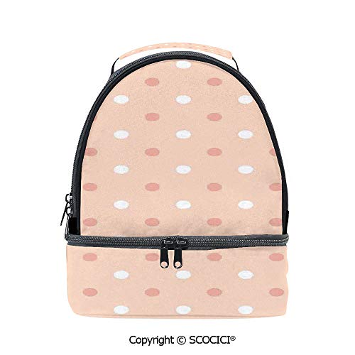 SCOCICI Large Capacity Durable Material Lunch Box Vintage Polka Dots Pattern Round Marks in Row Speckles Kids Retro Art Graphic Multipurpose Adjustable Lunch Bag ()