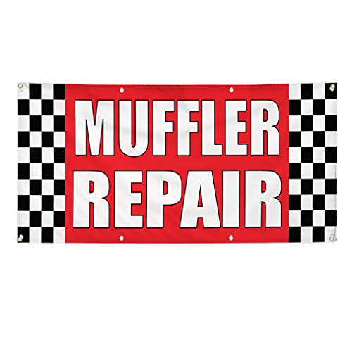 - Vinyl Banner Sign Muffler Repair Auto Body Shop Car Repair Marketing Advertising Red - 60inx144in (Multiple Sizes Available), 10 Grommets, Set of 3