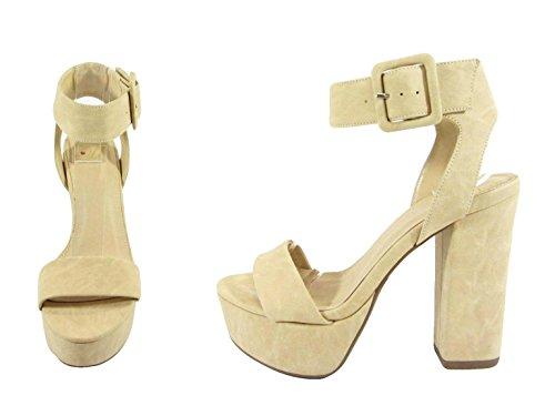 Womens Wide Beige Thick Strap Toe Strap Ankle Delicious Sandal Block Heel Open TUIdqTwZ