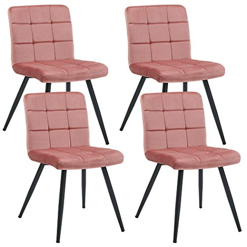 Set of 4 Dining Chairs,Velvet Accent Chair Upholstered Living Room Modern Leisure Chairs Style Metal Legs Pink