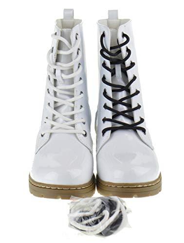SHOEDEZIGNS Shoe Dezigns Declyn 01 Womens Patent 2 Color Lace Combat Boots White 10
