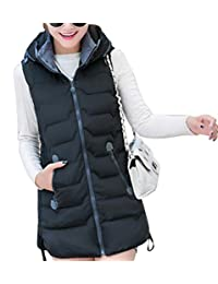 KLJR-Women Winter Slim Fit Hooded Vest Long Padded Coat Outdoor