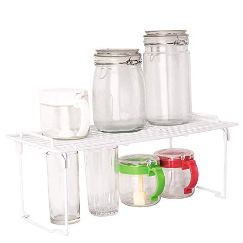 Dofyware 2 Pack Kitchen Cabinet and Counter Shelf Organizer, Foldable and Stackable, Chrome, White