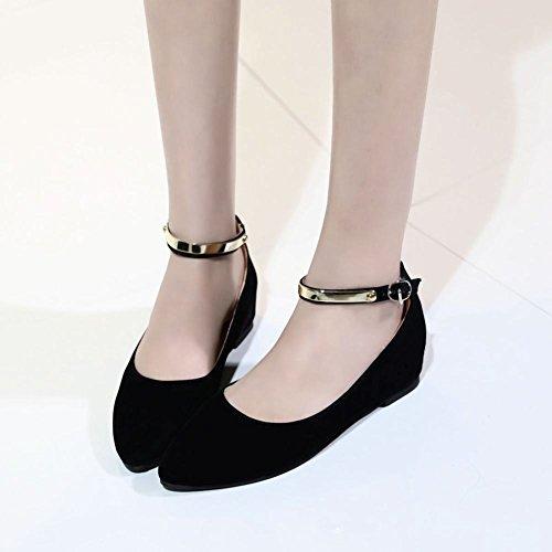 Carolbar Femme Boucle Sangle Cheville Mode Grace Confort Orteil Pointu Talon Caché Robe Chaussures Noir