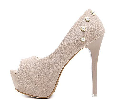 Toe Top Plateau Stilettos Aprikosenfarben Aisun Low Damen Peep Heels Sandale High Perlen EAEwYOq