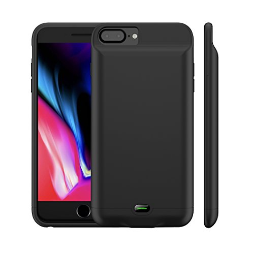 iPhone 8 Plus/7 Plus Battery Case, MAXBEAR 5000mAh Ultra Slim Rechargeable Extended Battery Pack for Apple iPhone 6 Plus/6S Plus Charging Case for iPhone 7 Plus,8 Plus Portable Power Bank-Black