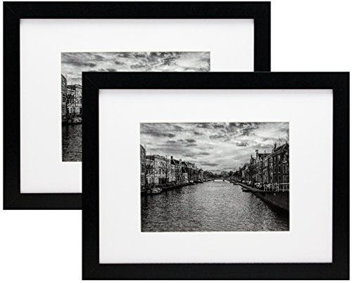 (9x12 Black Gallery Picture Frame with 6x8 Mat - Two Frames - Wide Molding - Includes both Attached Hanging Hardware and Desktop Easel -Display Pictures 9x12 or 6x8 Inches -Family Photo Frames (2-Pack))