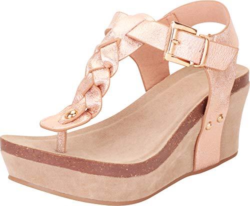 Cambridge Select Women's Thong Toe Braided T-Strap Chunky Platform Mid Wedge Sandal,8.5 B(M) US,Rose Gold PU