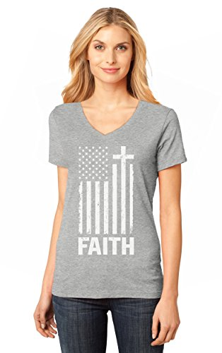 Christian Distressed White USA Flag - Cross Have Faith Women's Fitted V-Neck T-Shirt Small Gray