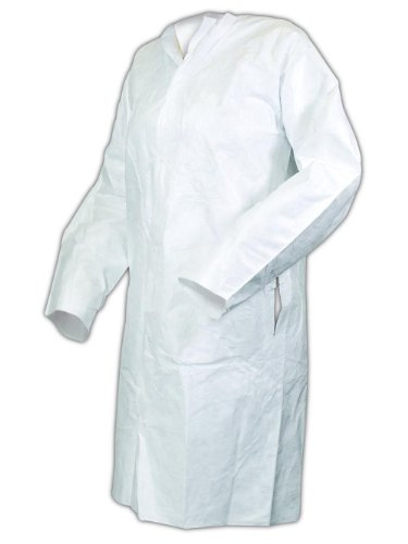 Tyvek White Lab Coat - Magid C111M EconoWear Tyvek Disposable Lab Coats, Medium, White (Case of 30)
