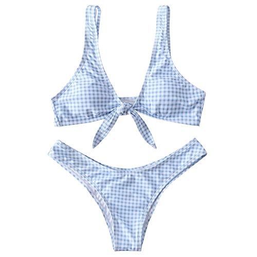 Lemonfish Women's Push Up Padded Bikini Tie Knot Front V Style Bottom Swimsuit Set Blue and White Lattice, XL