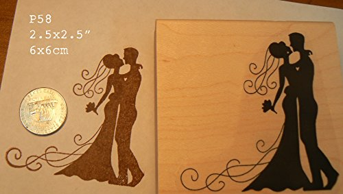 Wedding couple-bride and groom rubber stamp P58 ()
