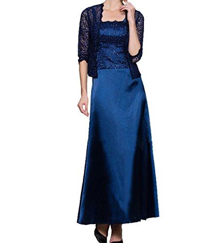 Spitze Knoechellang Damen mit Festlichkleider Promkleider Brautmutterkleider Jaket Blau Abendkleider Dunkel Partykleider Charmant qBgEx