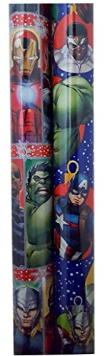 The Avengers Christmas Gift Wrap Paper 2 Assorted Rolls (Nick Fury Costume For Kids)