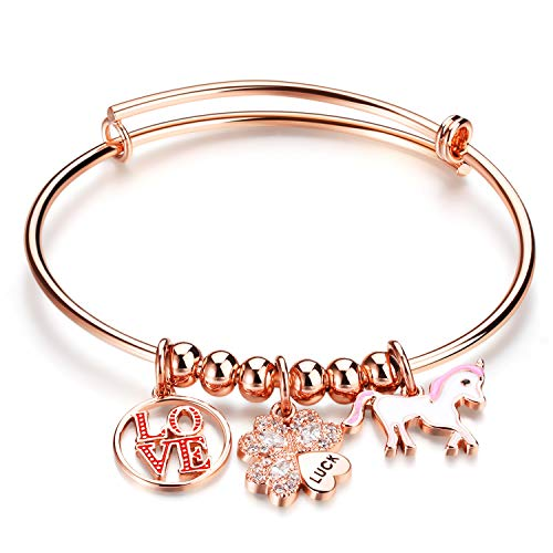 Decoself Bangle Bracelets, Unicorn Love Charms Jewelry Swarovski Diamonds Crystals 18K Gold Adjustable Gift Women Girls Friends