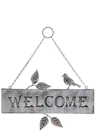 Special T Imports Metal Bird and Leaves Indoor Outdoor Metal Welcome Plaque Sign for Porch Door Etc - Welcome Plaque