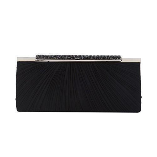 Hard Crystal Premium (Elegant Pleated Satin w/ Crystal Top Hard Frame Clutch Evening Bag, Black)