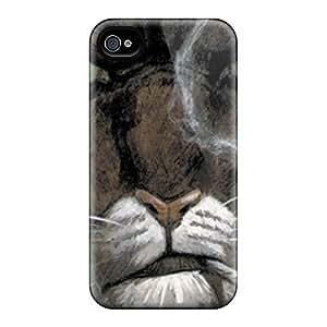 Awesome YqTWbhl5026nynNC DaMMeke Defender Tpu Hard Case Cover For Iphone 4/4s- Blacksad