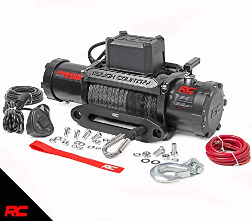 Rough Country 9,500 LB PRO Series Electric Winch | 85 FT Synthetic Rope Fairlead | Clevis Hook | 12 FT Remote | PRO9500S