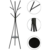 MULSH Standing Coat Rack Hat Hanger Coat Rack Hooks Coat Rack Hall Tree Entryway Standing Hat Jacket Coat Hanger Rack,17.72x17.7273.46(WxDxH) (Black)