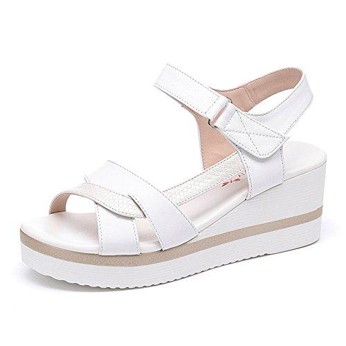 Zapatos De Cuero Del Verano/Pendiente Inferior Gruesa Con Sandalias Del Talón Del Dedo Del Pie Del Rocío B