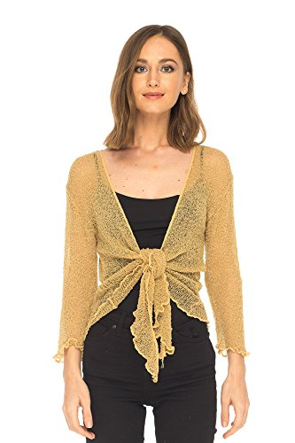 SHU-SHI Womens Sheer Shrug Tie Top Cardigan Lightweight Knit,Natural Gold,One Size ()