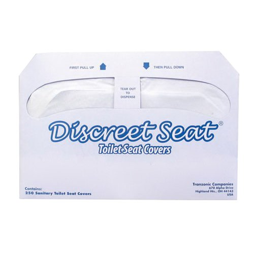 Hospeco NCVBHDGH Discreet Seat DS-1000 Half-Fold Toilet Seat Covers, White 5 Cases (1000 Covers) by Hospeco
