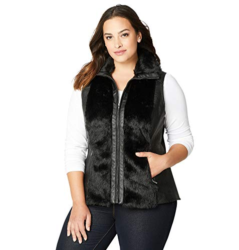 Avenue Women's Faux Leather Faux Fur Trimmed Vest, 22/24 - Leather Avenue Vest