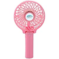 Unifire®rechargeable Fans Handheld Mini Fan Battery Operated Electric Personal Fans with Foldable Fans Hand Bar Desktop Fan Hand Fans (Pink)