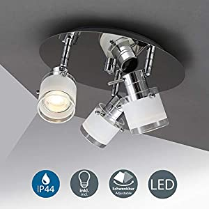 B.K.Licht LED Ceiling lamp, incl. 3 x 5W LED GU10 Bulbs, Bathroom Lighting with Rotating spotlights, IP44 Splash Water…
