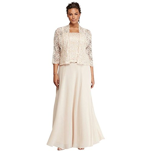 David's Bridal Petite Plus Size Mother of Bride/Groom Dress with Sequin Lace Jacket Style. by David's Bridal