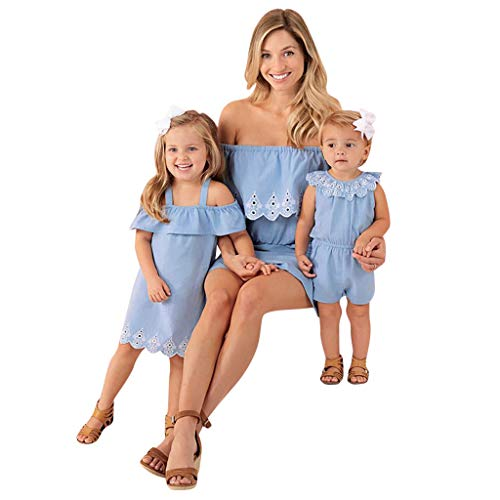 Lelili Toddler Kids Girls Off-Shoulder Embroidered Denim Dress Patchwork Sleeveless Casual Dress Tops (1-5Year) Blue