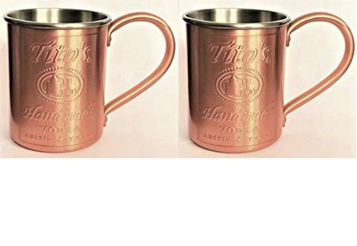 Tito's Vodka Copper/Stainless Steel Lined Mug - NEW - Set of 2