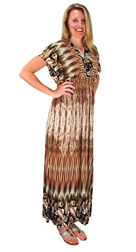 Peach Couture Damask Print Cap Sleeves Smocked Waist Plus Sized Maxi Dresses V Neck Brown 1X