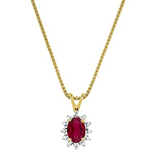 July Birthstone Pendant Necklace Ruby in Sterling Silver or Yellow Gold Plated Silver 925