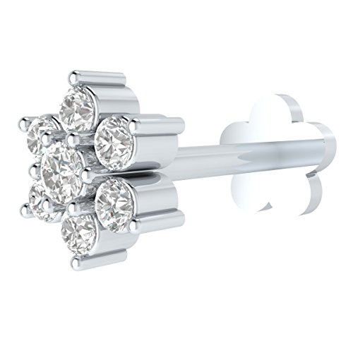 Diamond Labret Jewelry (Natural Diamond 14k Gold Flower Nose Lip Labret Monroe Ring Stud Screw (6 mm long post))