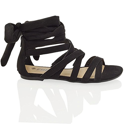 Essex Glam womens black faux suede tie wrap flat gladiator sandal shoes 7 B(M) US